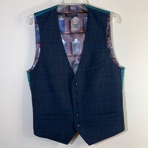 NWOT. Ted Baker London Raisew Debonair Suit Men's Check Waistcoat Vest 40R.